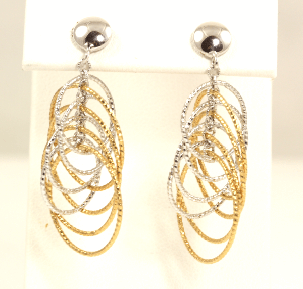 Two-Tone Circle Dangle Earrings
