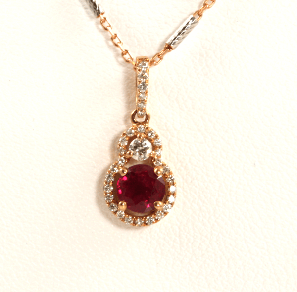 Rose Gold Round Ruby Pendant