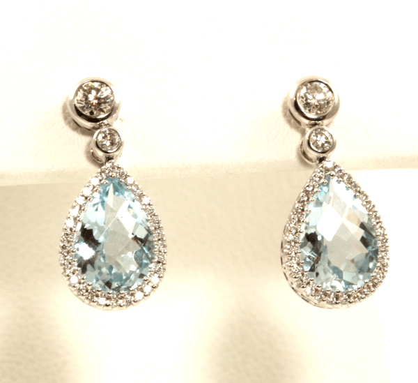 Pear Aquamarine Halo Earrings