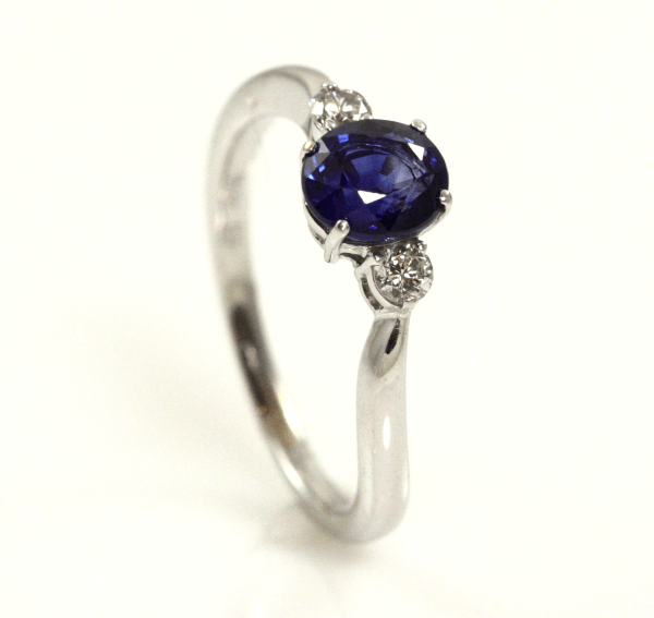 Sapphire and Diamond Tapered Shank Ring