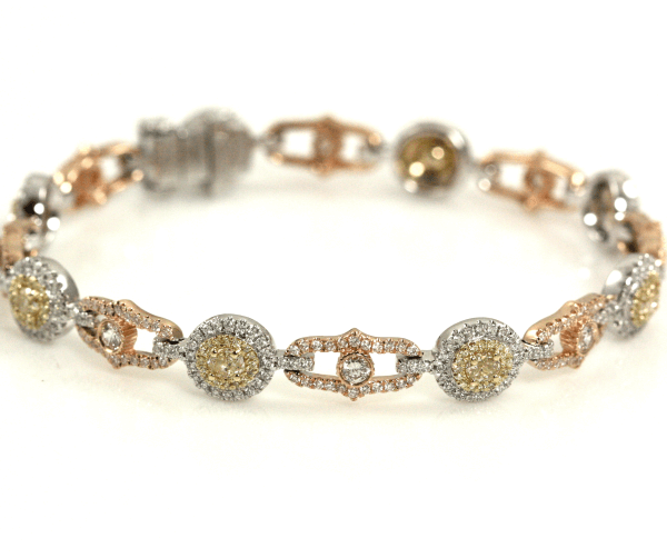 Tri-Tone Gold Diamond and Yellow Diamond Bracelet