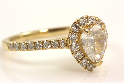 Pear Shaped Diamond Halo Designed Yellow Gold Engagement Ring